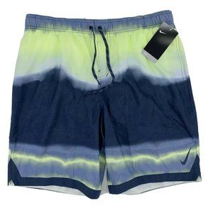 Nike Repel Hydrofuge Gray Neon Green Swim Trunks